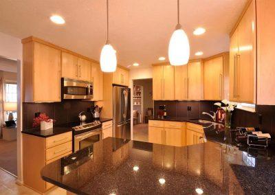 Contemporary kitchen with black granite countertops